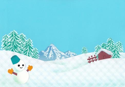 Snow scene snowman