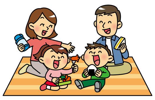 Families enjoying picnics