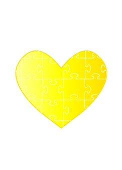 Heart puzzle (yellow)