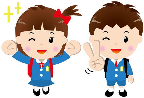 Illustration of elementary school girls and men