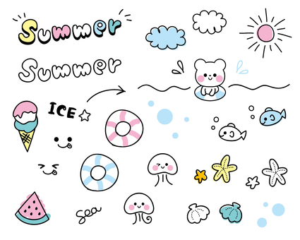 Hand-drawn deco fitting summer version ☆