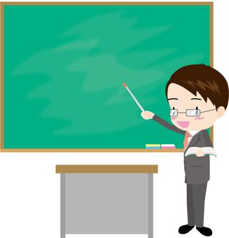 Male teacher (lesson black board)