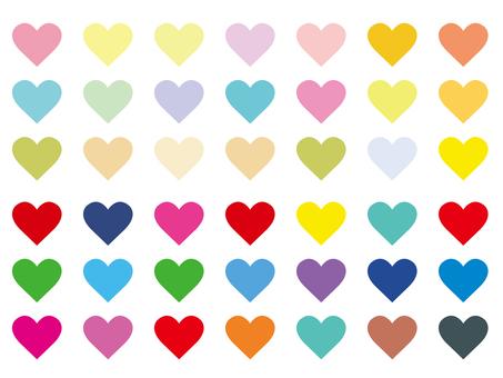 Colorful heart mark illustration material set