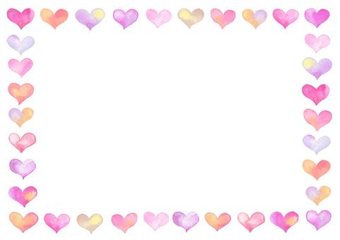 Watercolor heart frame-B2