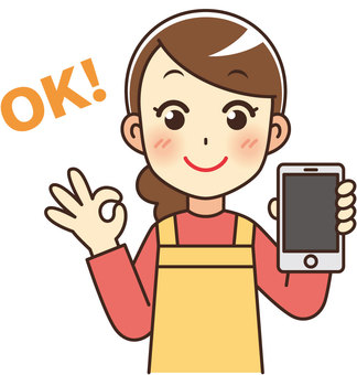 Cute housewife with a smartphone