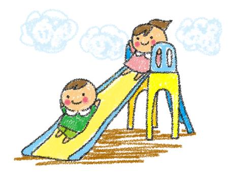 手描き 公園で遊ぶ男の子女の子