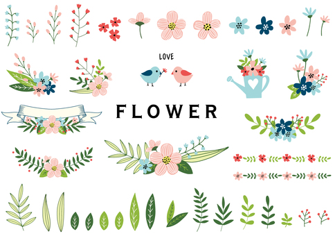 Flower and leaf illustration set