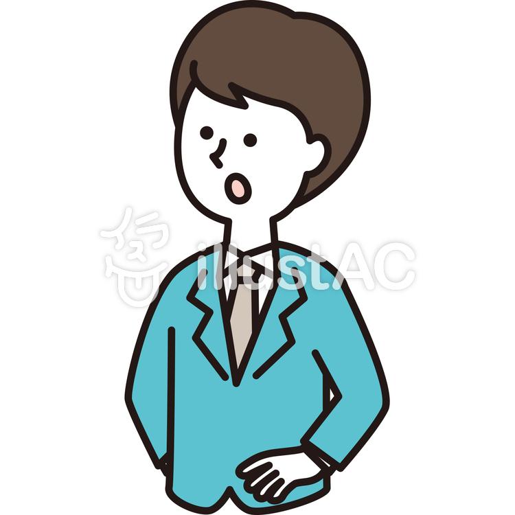 腰に手をあてるスーツの男性イラスト No 786243無料イラストなら