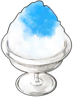 Blue Hawaii taste shaved ice with outlines