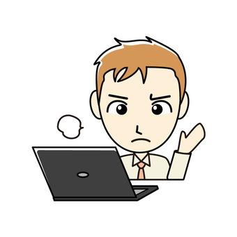 ブログ向け-PCと茶髪男性 お手上げ状態
