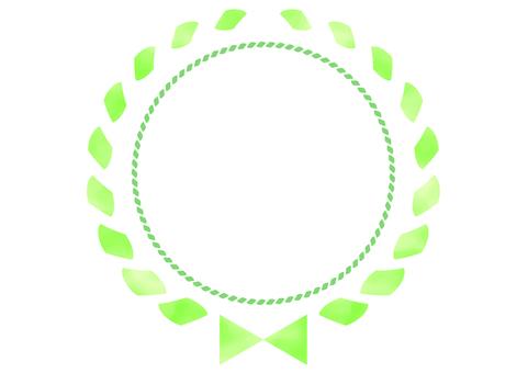 Watercolor ribbon frame green