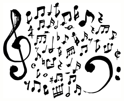 손으로 그린 음악 기호 세트