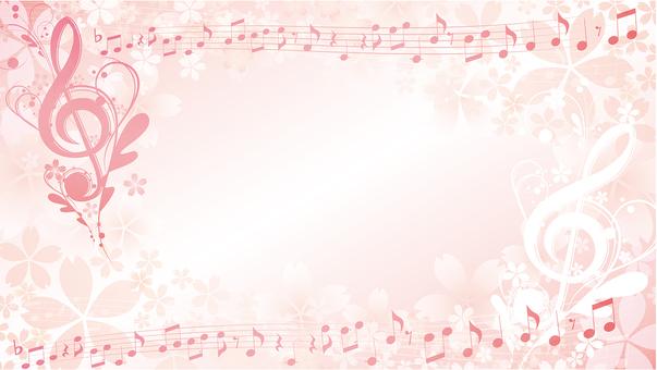 고화질 화면 크기 우아한 벚꽃 음악 프레임