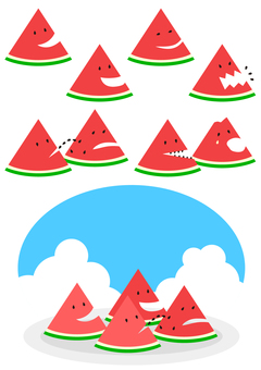 Various facial expressions of watermelon cut into triangles