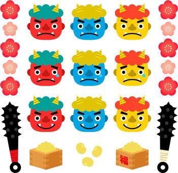 Illustration set of Oni and Setsubun