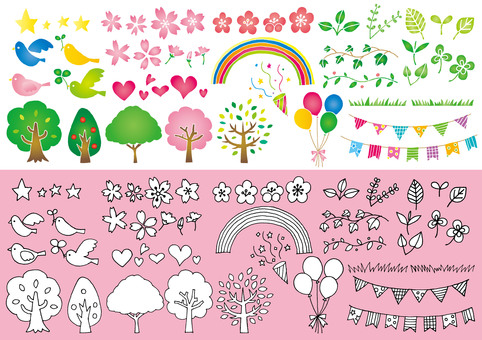 Spring hand-drawn illustrations such as Clover