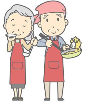 Elderly couple - cuisine - whole body