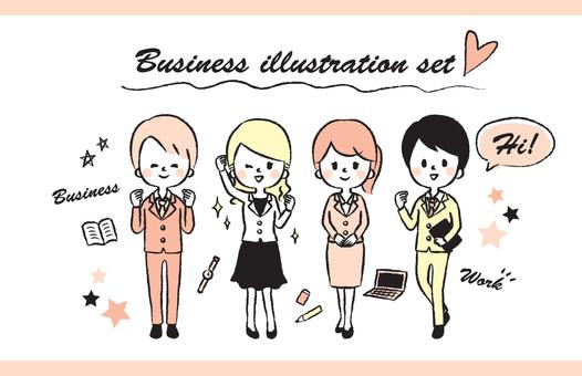 Men's and women's suit handwritten illustration set