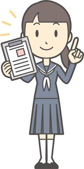 Junior high school sailor female -214- whole body