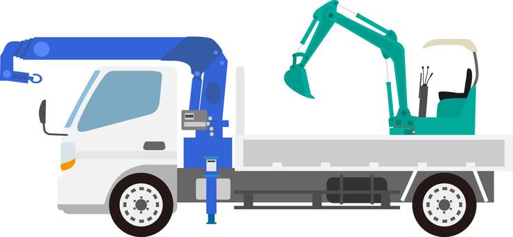 Crane trucks and excavators