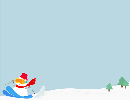 Snowman ski _ square background