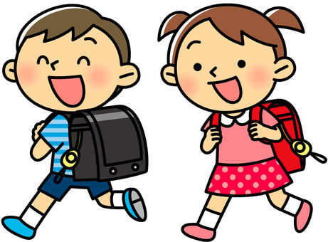 Elementary school student carrying a school bag