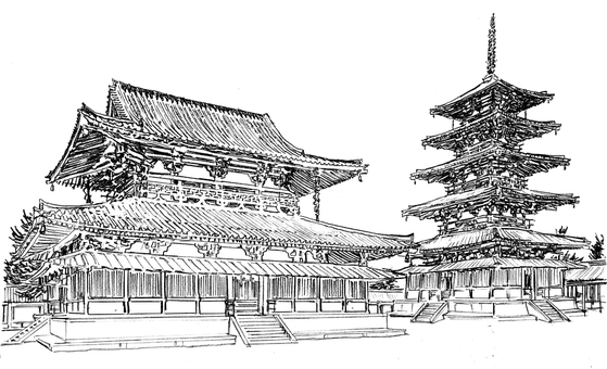 Horyuji Temple Kofudo & five stories