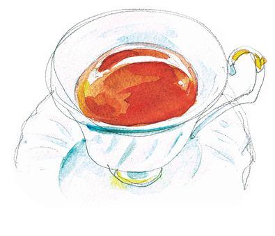 Black tea with watercolor