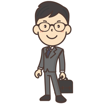 Office worker of black glasses glasses Male whole body