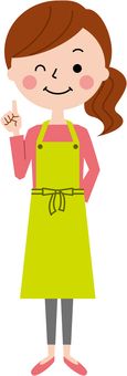 Fingering apron lady