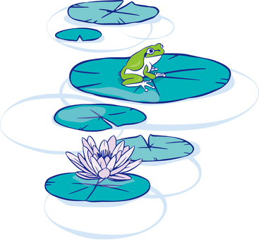 Illustration of a frog and a water lily