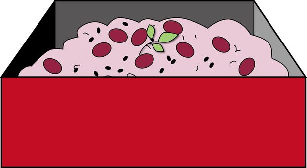 Illustration of red rice in a box