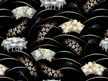A pattern of Japanese style fan and flower · Suki