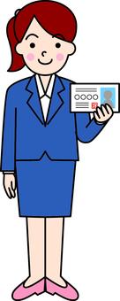 Women presenting identity cards