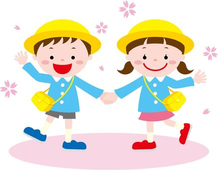 Children holding hands (with hats)