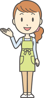 Apron youth long hair -149- whole body