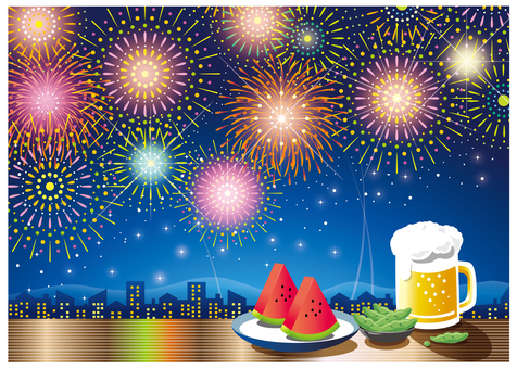 Fireworks of the night sky, beer and watermelon