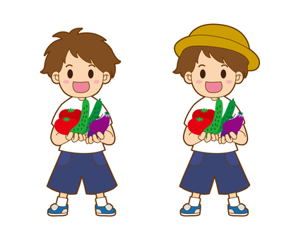 A little boy with vegetables