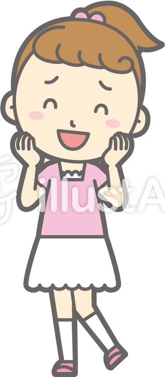 女の子半袖a-いやん-全身のイラスト