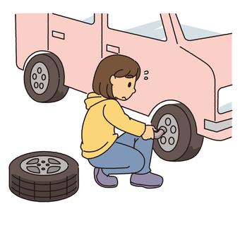 Tire change (women)
