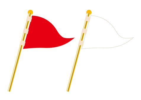 Flag, red and white set (triangle)