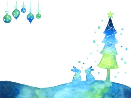Rabbit and tree Christmas frame