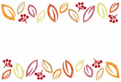 秋天框架/葉子和水果