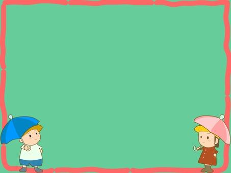 어린이와 우산 테두리