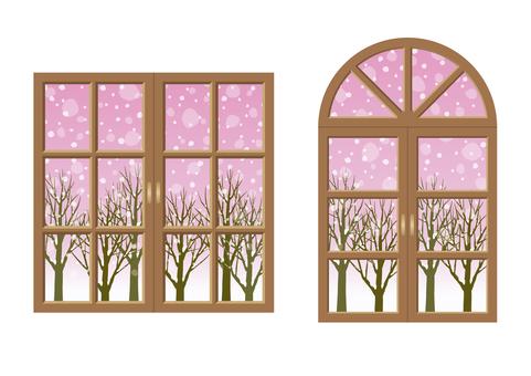 Window and winter scenery 01