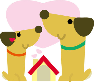 Couple dogs and hearts