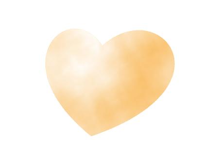 Orange heart (watercolor hand drawn style)