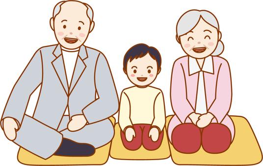 老年夫婦和孫子