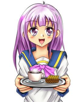 Purple that brings coffee and cookies