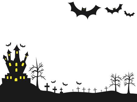 Halloween, castle and bat frame